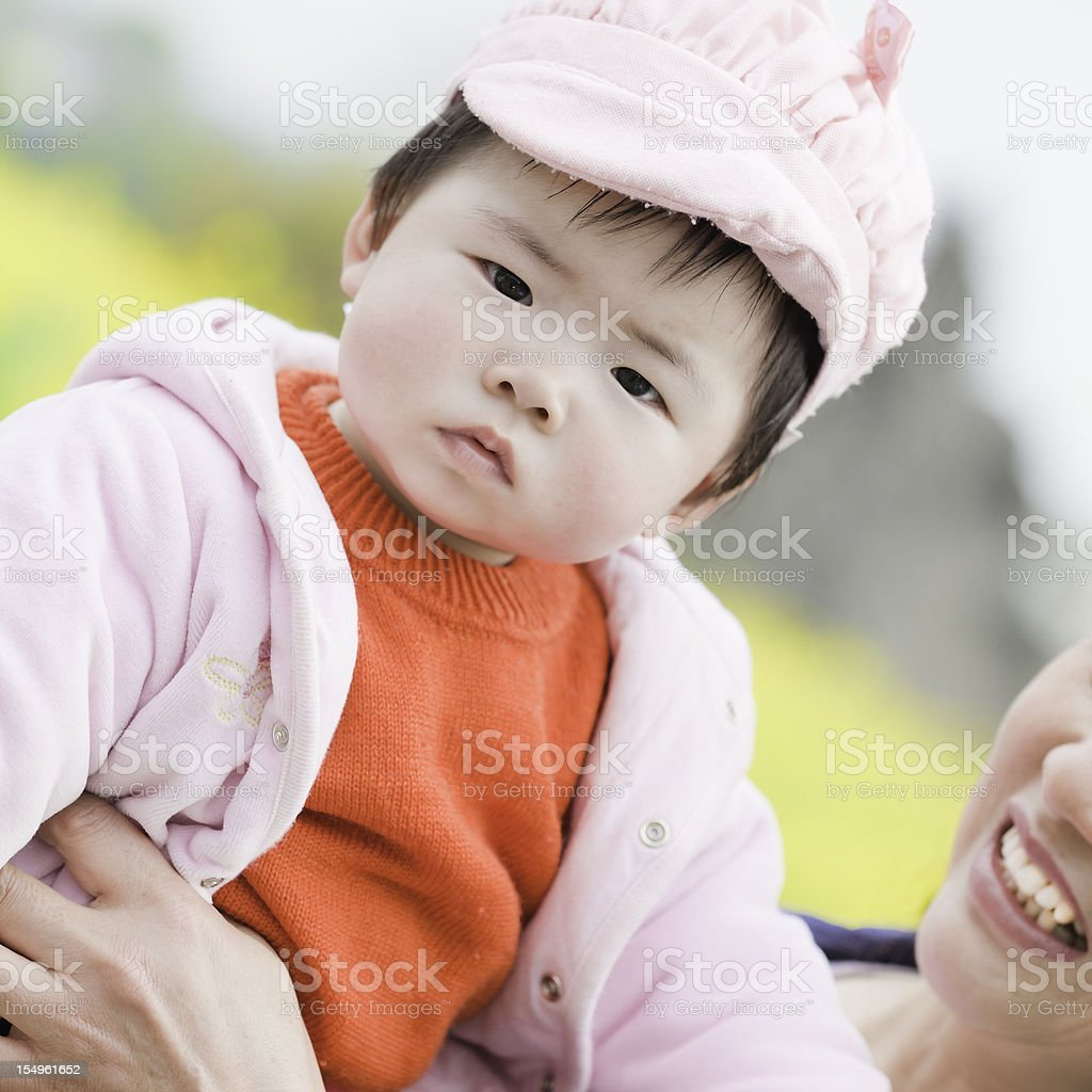 asian baby in spring royalty-free stock photo