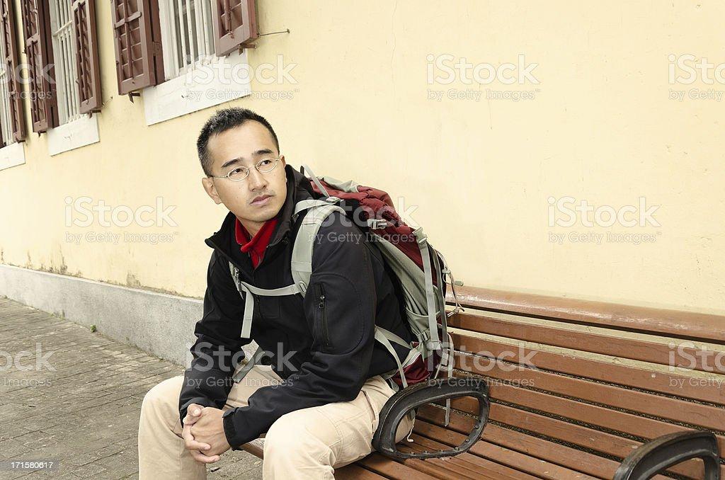 Asian backpacker royalty-free stock photo