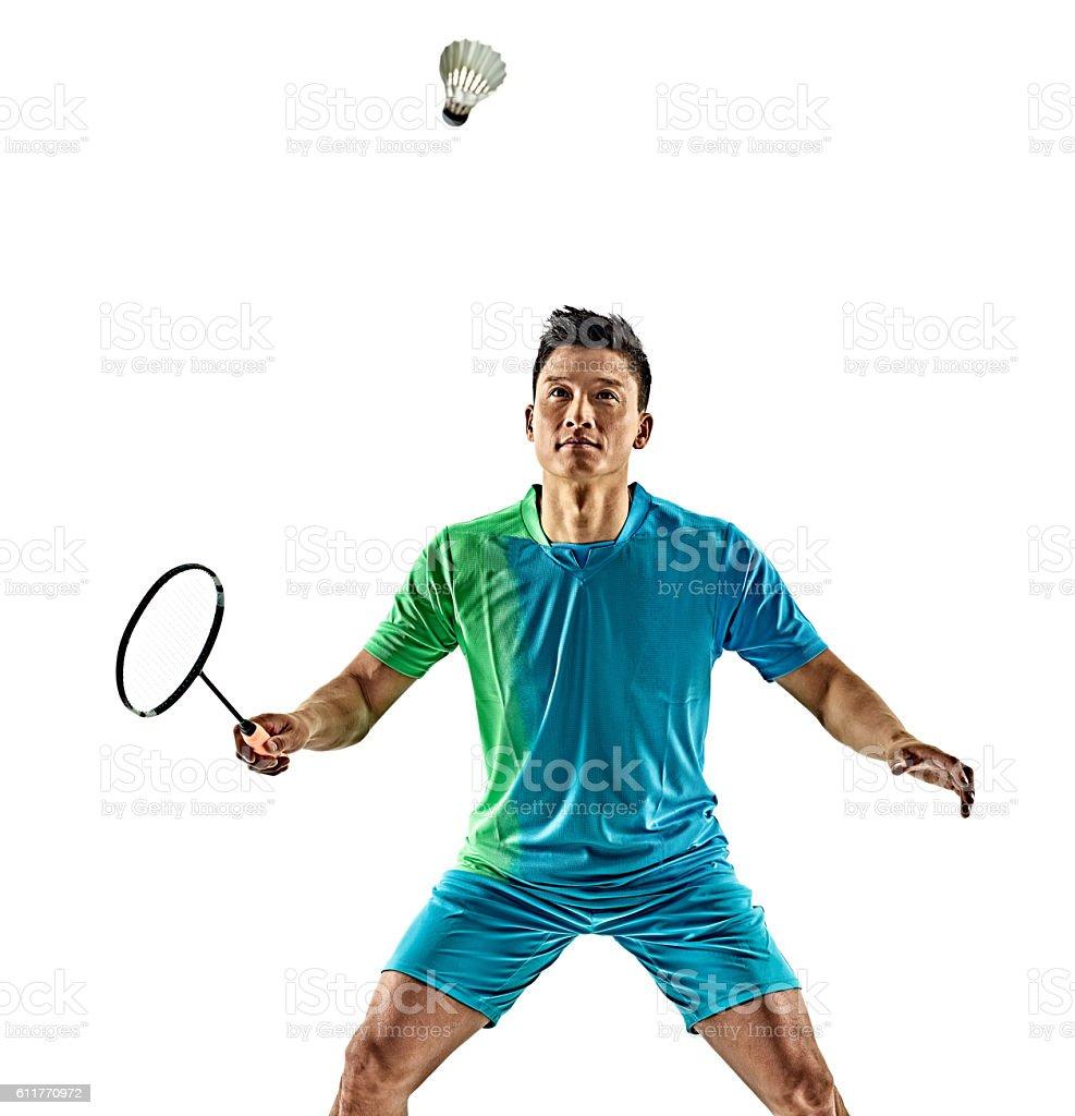 asian badminton player man isolated - foto de stock