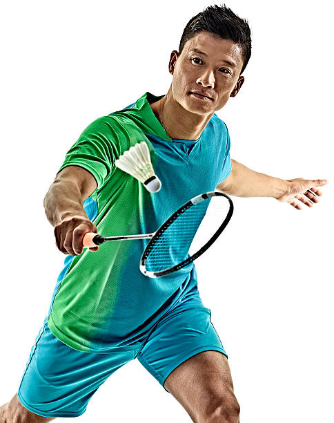 asian badminton player man isolated - badminton sport stock pictures, royalty-free photos & images