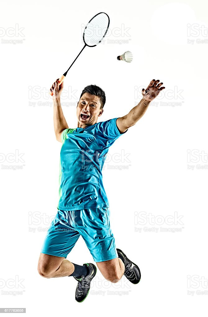 asian badminton player man isolated - foto de acervo