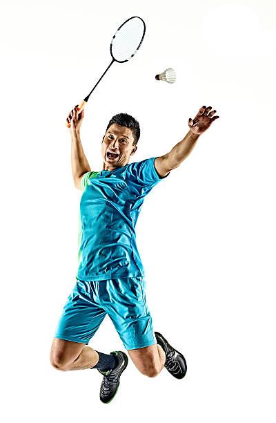 asian badminton player man isolated - bádminton deporte fotografías e imágenes de stock