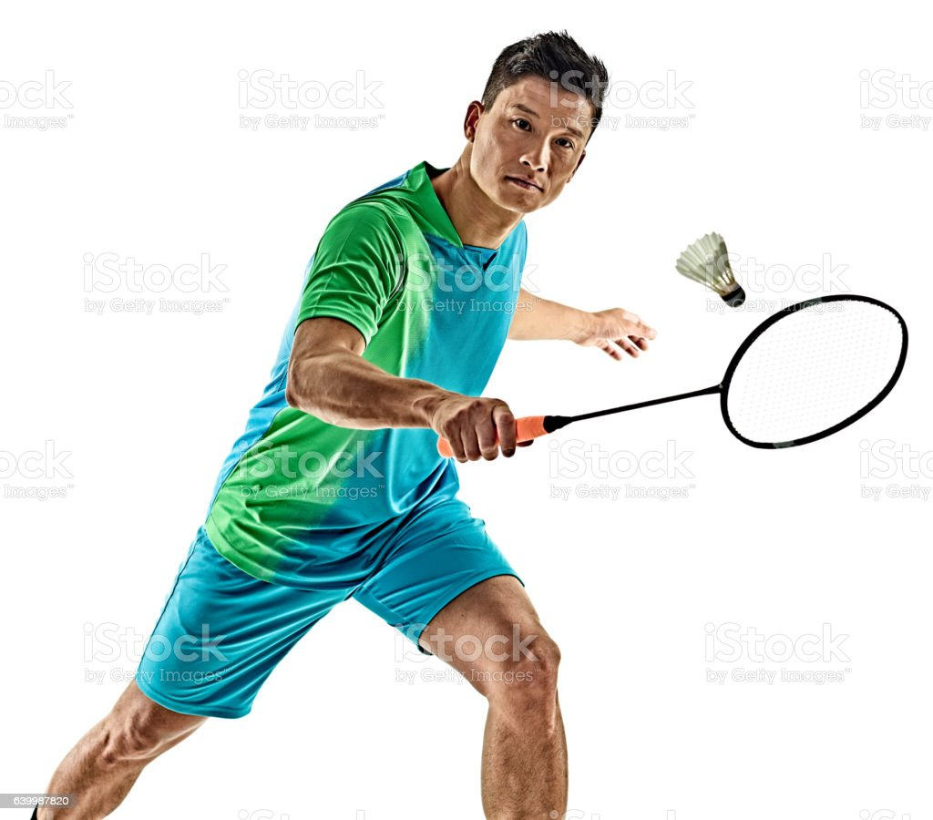 asian badminton player man isolated – zdjęcie