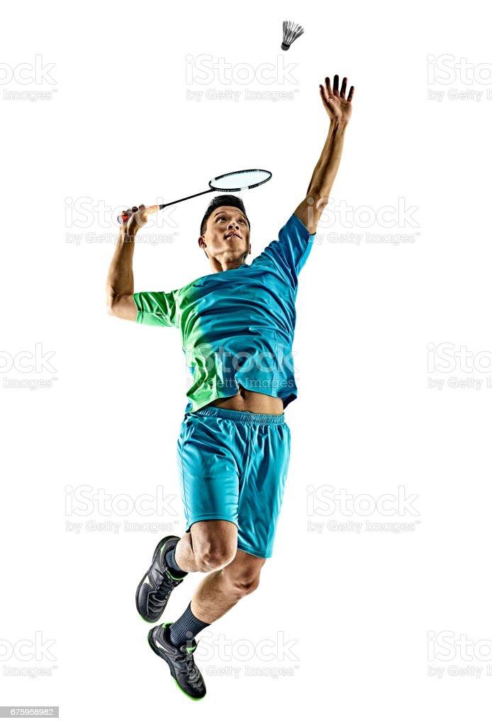 homme de joueur de badminton asiatique isolé - Photo