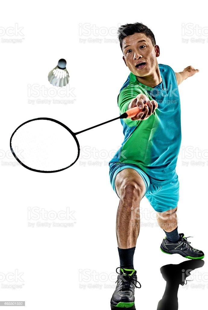 hombre jugador de bádminton asiático aislado - foto de stock