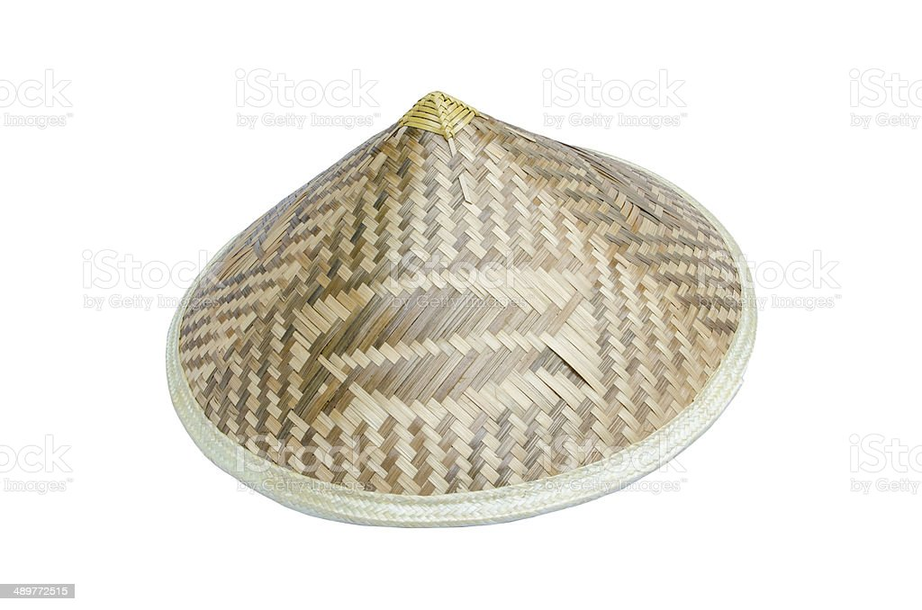 Asian bamboo conical hat isolated on white background royalty-free stock photo
