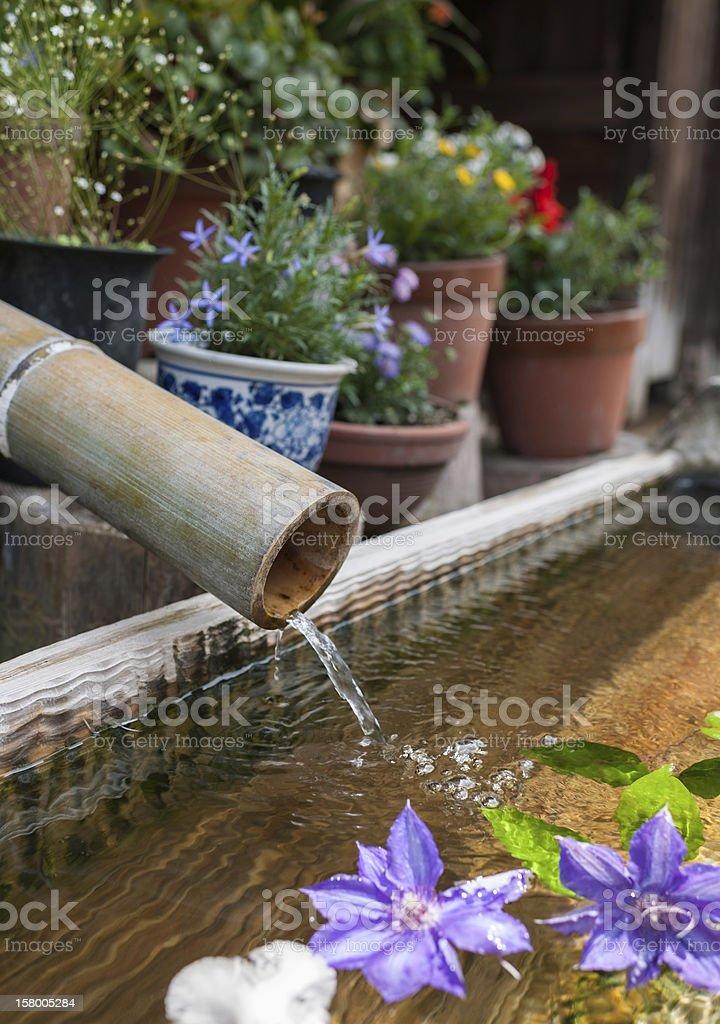 Asian Bamboo Fountain stock photo