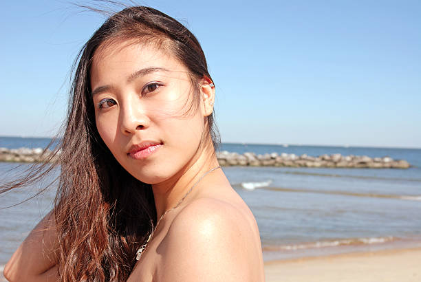 Asian Beach Portrait stock photo
