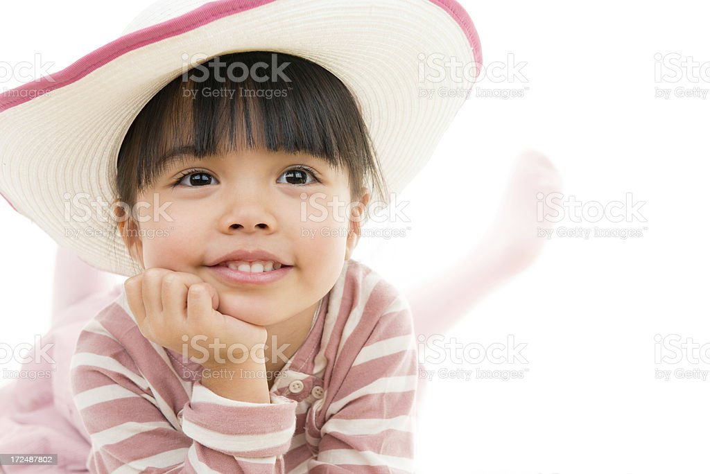 Asian beautiful little girl portrait with hat white background royalty-free stock photo