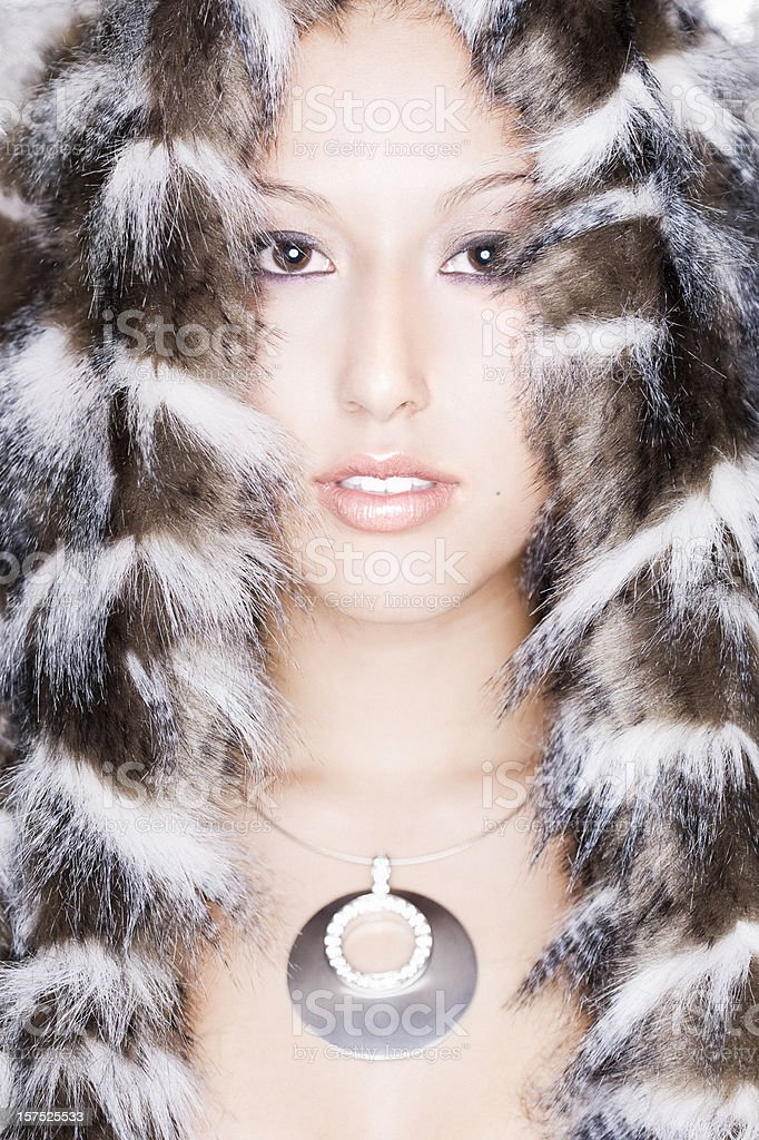 Asian Beautiful Mixed Young Woman Modeling Fur and Necklace stock photo