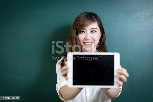 485539628 istock photo asian beautiful woman holding tablet in front of blackboard 479910186