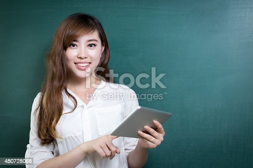 485539628 istock photo asian beautiful woman holding tablet in front of blackboard 480728068