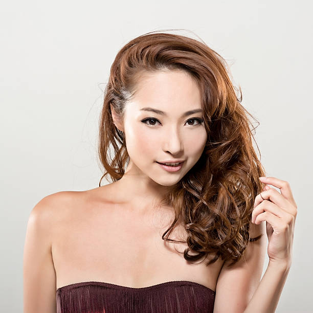 Asian beauty face and hair stock photo