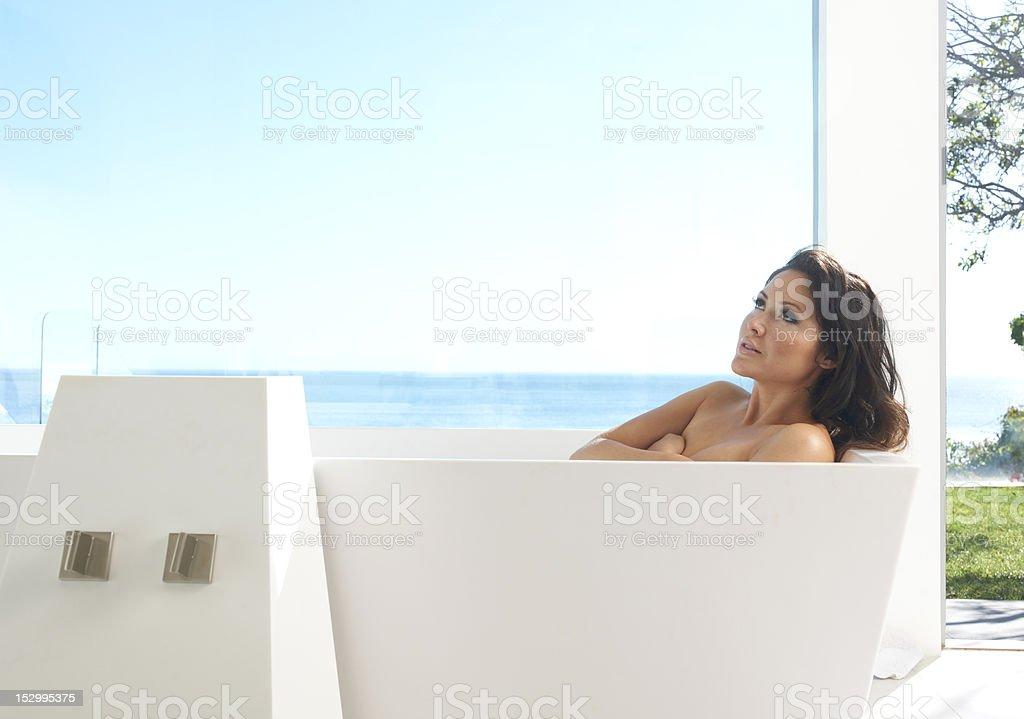 Asian Beauty in Luxury Bathtub royalty-free stock photo