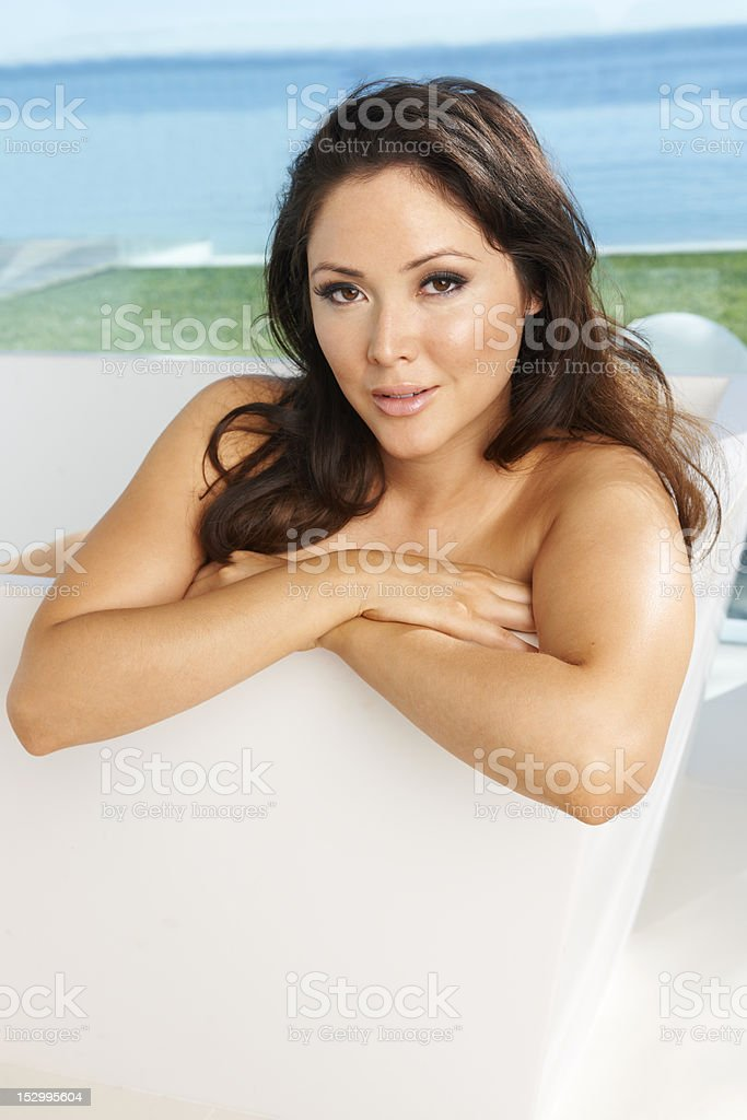 Asian Beauty in Luxury Bathtub royalty-free stock photo