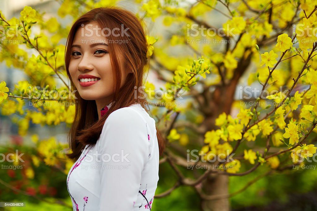 Asian Beauty Woman In Traditional Vietnam Clothing. Asia Culture stock photo