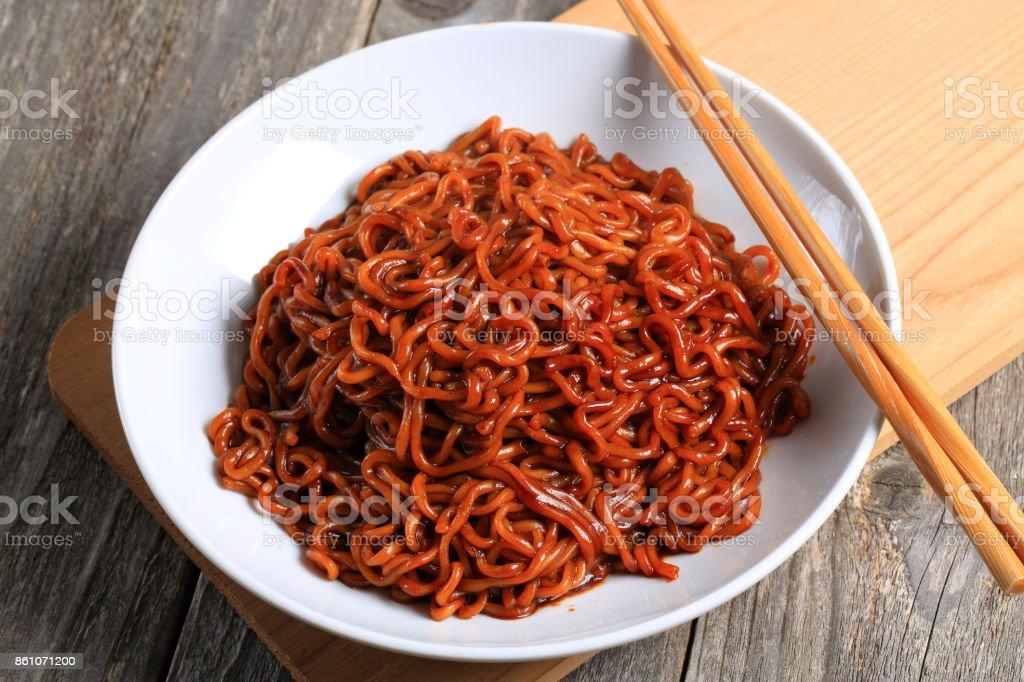 Asian black bean noodle stock photo