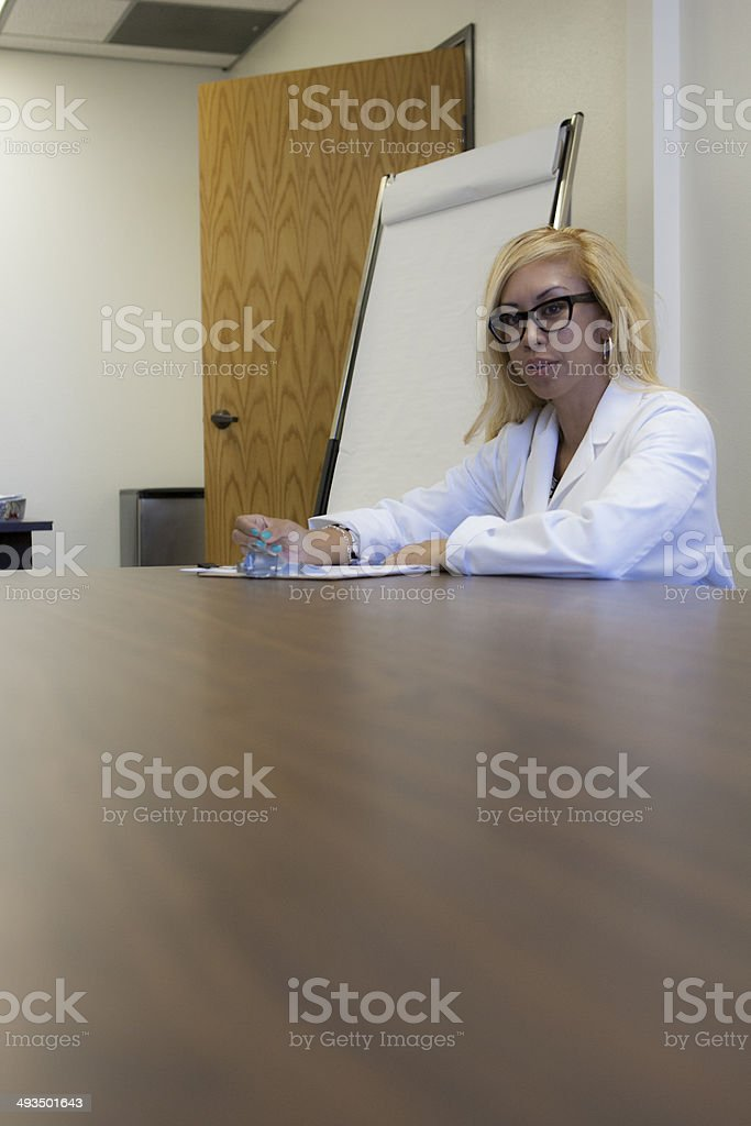 asian blond give consult stock photo