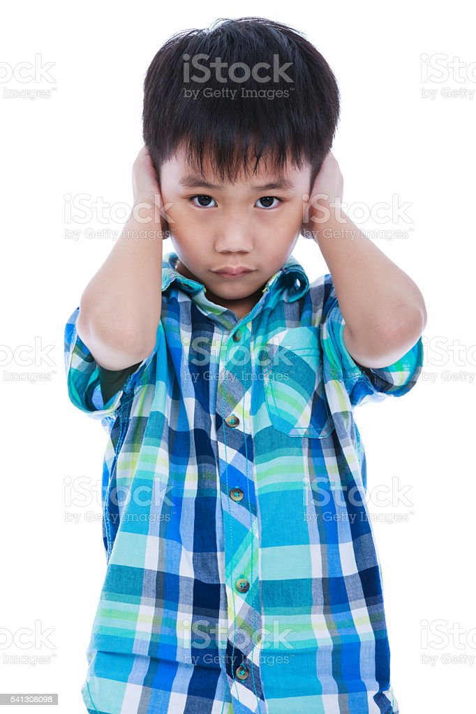 Asian boy covering his ear. Isolated on white background. - foto de acervo
