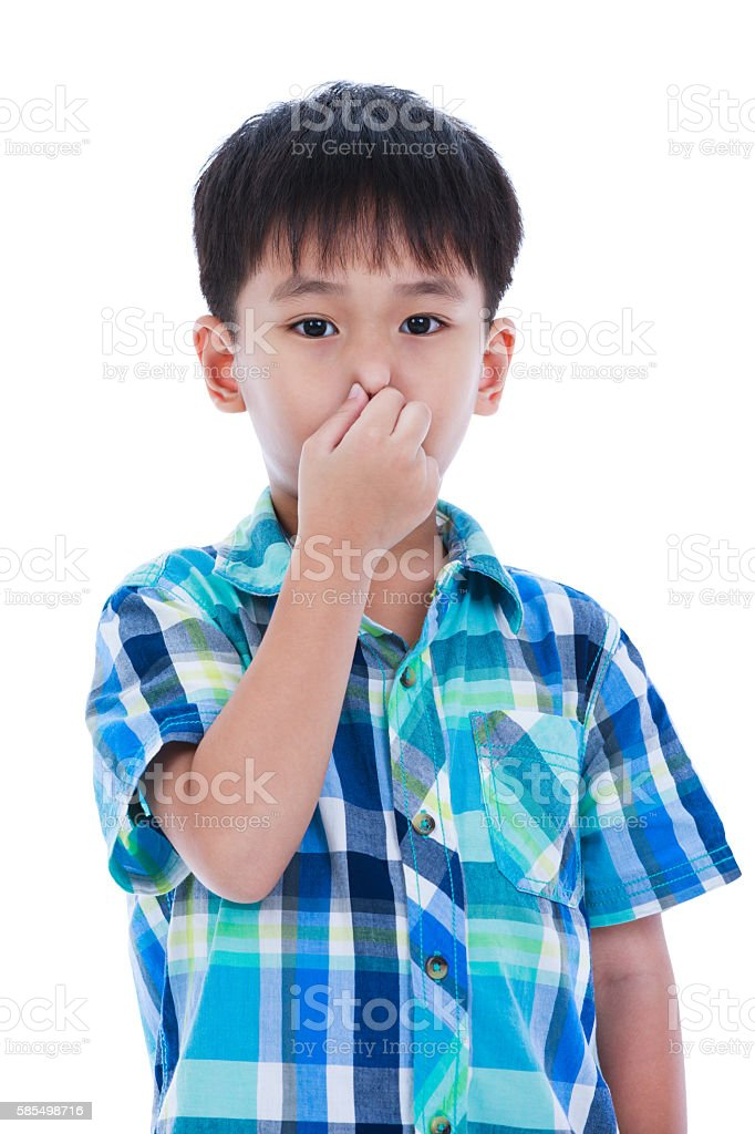 Asian boy covering his nose. Isolated on white background. - foto de acervo