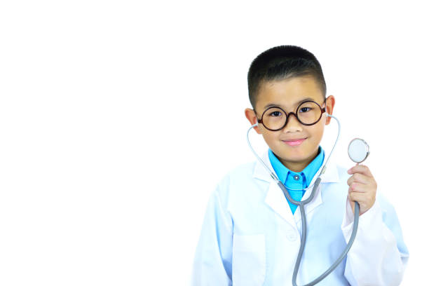 Asian boy doctor stock photo