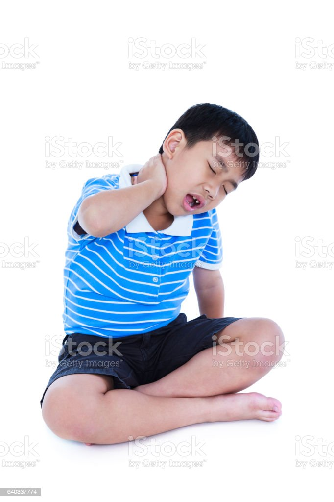 Asian boy have a neck pain. Isolated on white background. - foto de acervo