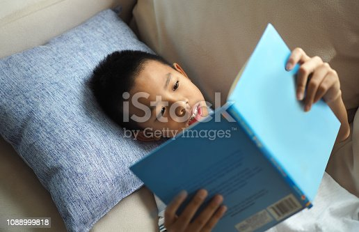 Asian boy reading a book on the sofa at home (selected focus)