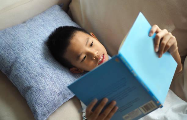 aziatische jongen lezen van een boek op de bank thuis (geselecteerde focus) - jongen stockfoto's en -beelden