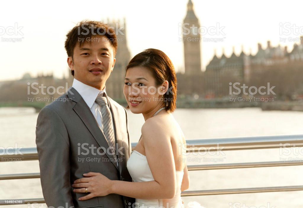 Asian bride and groom in London royalty-free stock photo