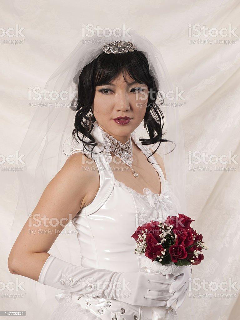 PVC Asian Bride - askance look stock photo