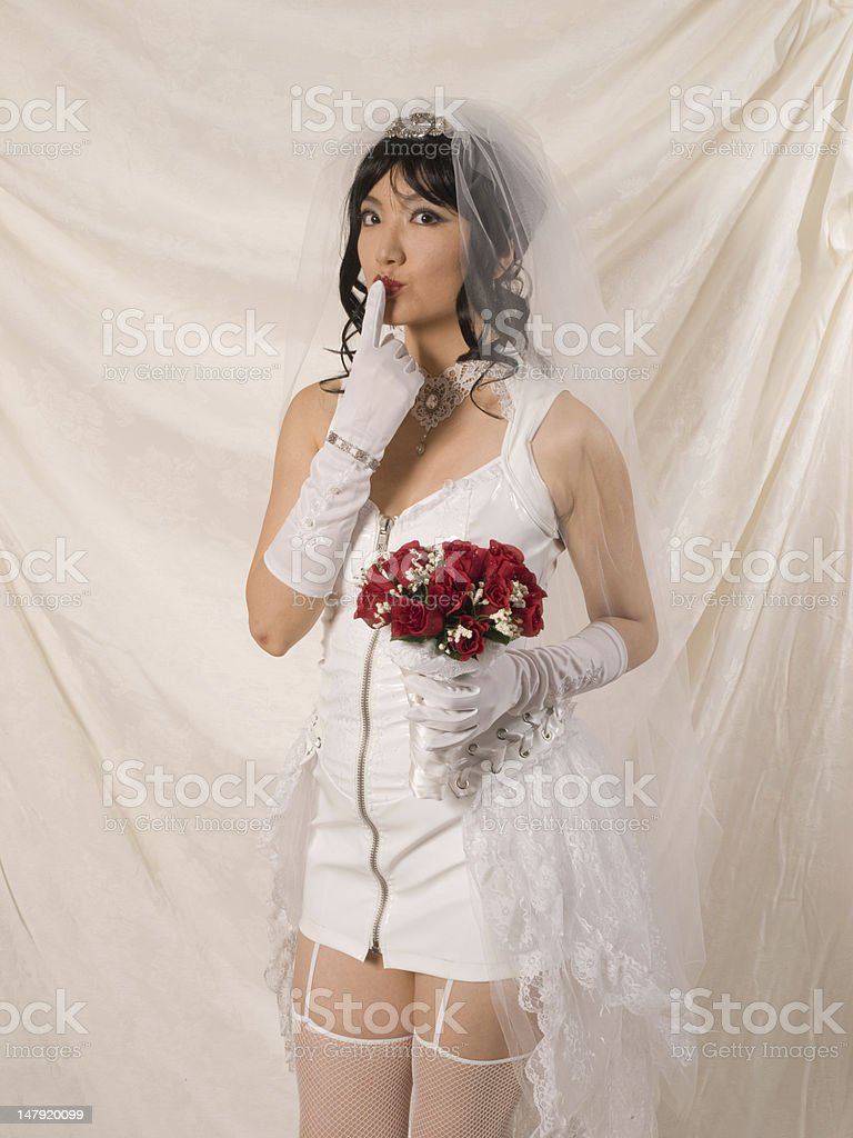 PVC Asian Bride - second thoughts? royalty-free stock photo
