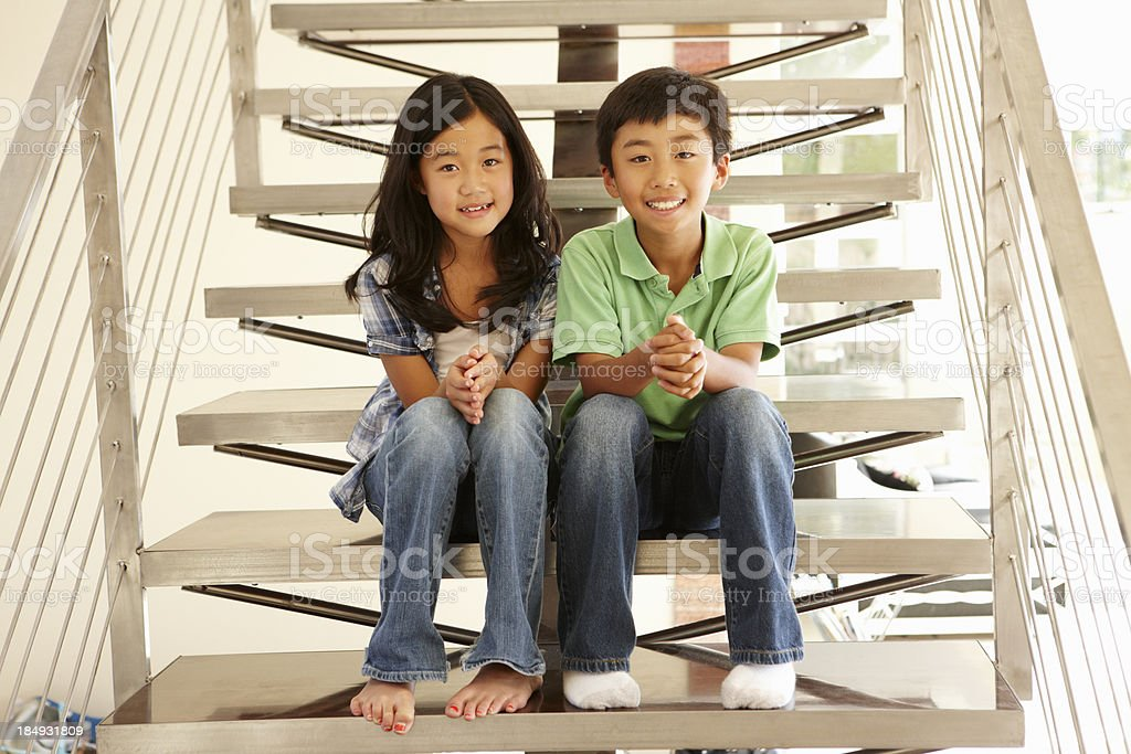 Asian brother and sister stock photo