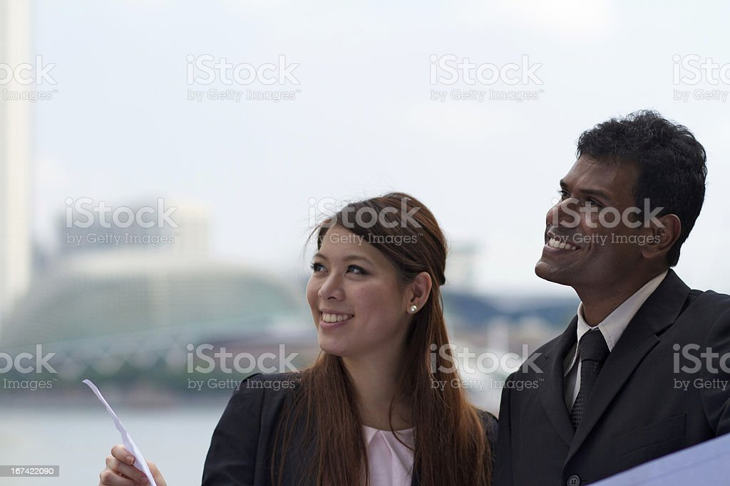 Asian Business Executives by Esplanade, Singapore River royalty-free stock photo
