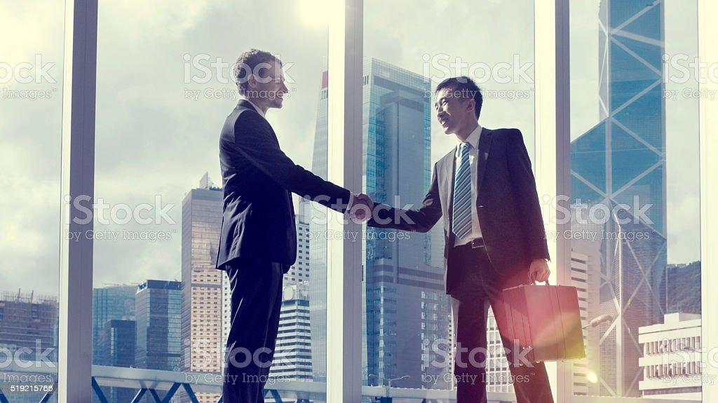 Asian Business Handshake Agreement Partnetship Concept stock photo