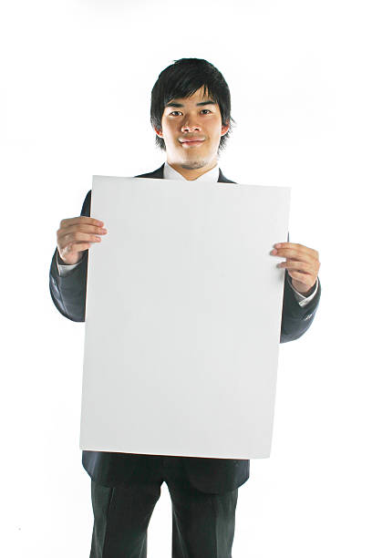 Asian Business Man - Blank Sign Asian Business Man - Blank Sign append stock pictures, royalty-free photos & images