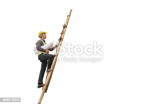 1048837520 istock photo Asian business man construction engineer hold blueprint paper climb on ladder isolated on white background with clipping path 996576302
