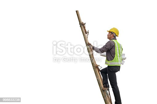 1048837520 istock photo Asian business man construction engineer hold blueprint paper climb on ladder isolated on white background with clipping path 998833238