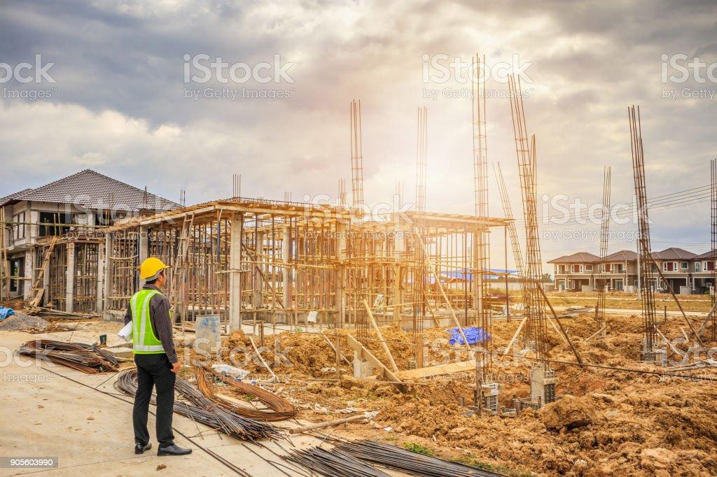 Asian business man construction engineer worker in protective helmet...