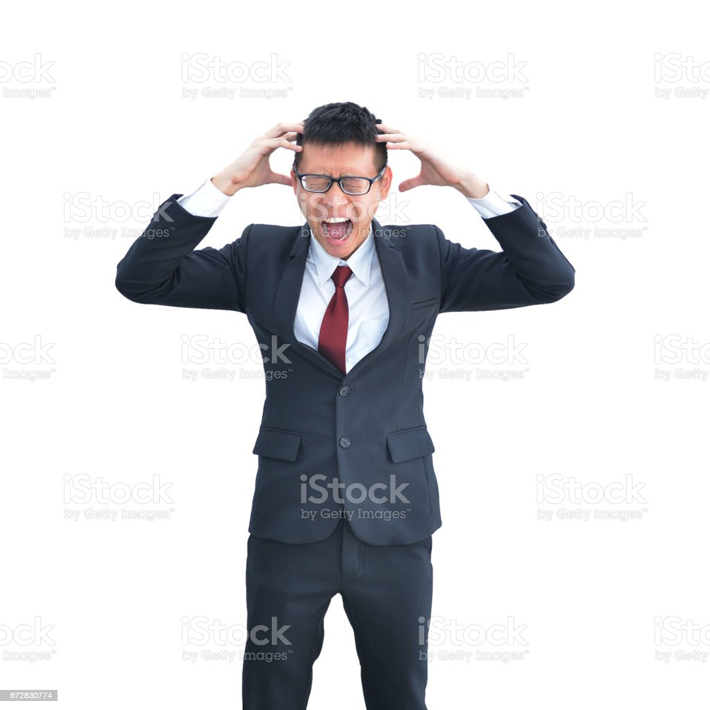 Asian Business man freaking out isolated on white background, clipping path inside stock photo