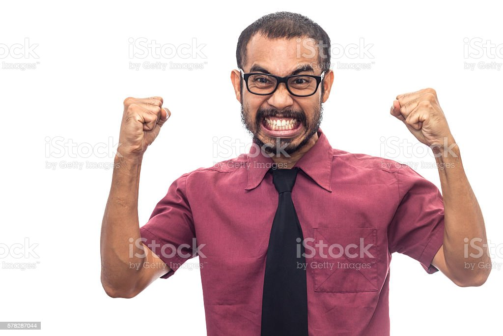 Asian business man in red shirt express angry face – Foto