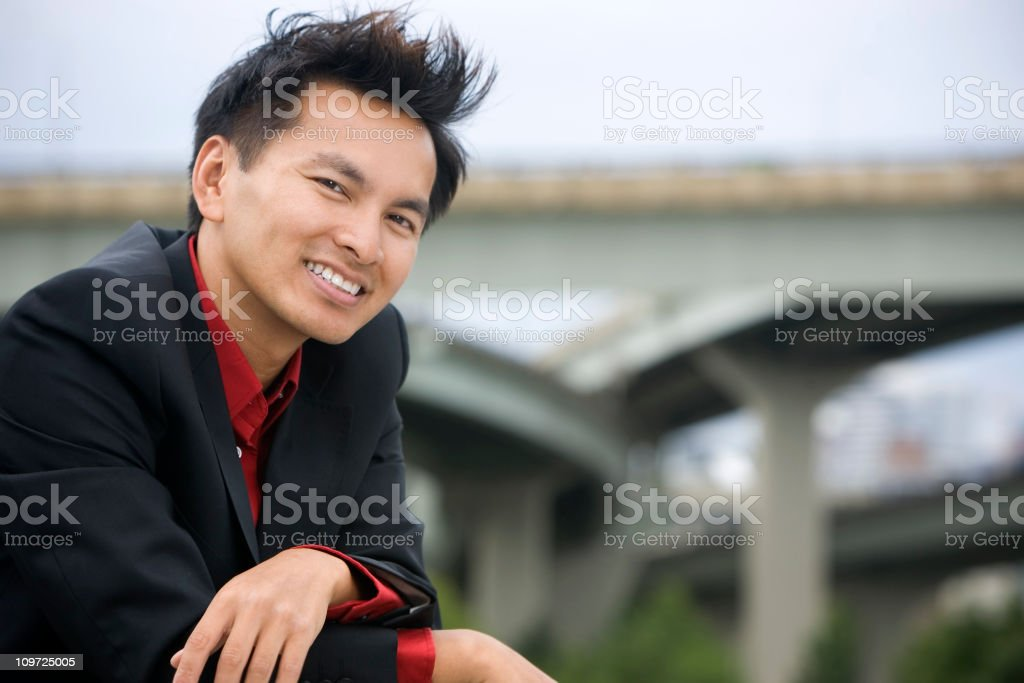 Asian Business Man Portrait Outdoors on Rooftop, Copy Space royalty-free stock photo