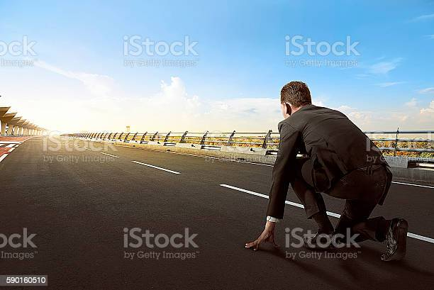 Asian Business Man Ready To Run Stock Photo - Download Image Now