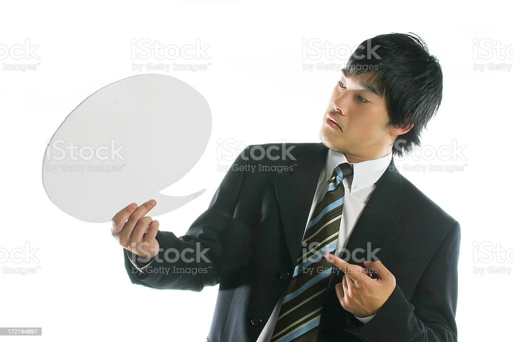 Asian business man - speech bubble royalty-free stock photo