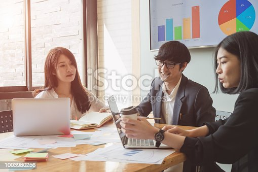 927401824 istock photo Asian business people meeting with new startup project pointing graph discussion and analysis data charts and graphs.Business finances and accounting concept 1003980256