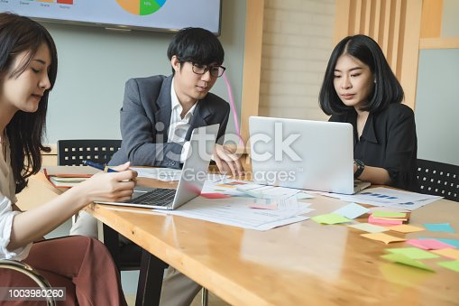 927401824 istock photo Asian business people meeting with new startup project pointing graph discussion and analysis data charts and graphs.Business finances and accounting concept 1003980260