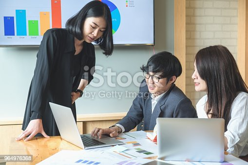 927401824 istock photo Asian business people meeting with new startup project pointing graph discussion and analysis data charts and graphs.Business finances and accounting concept 964976368