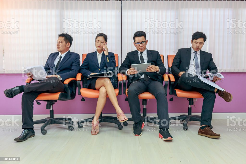 Asian Business people waiting for job interview, candidates waiting...