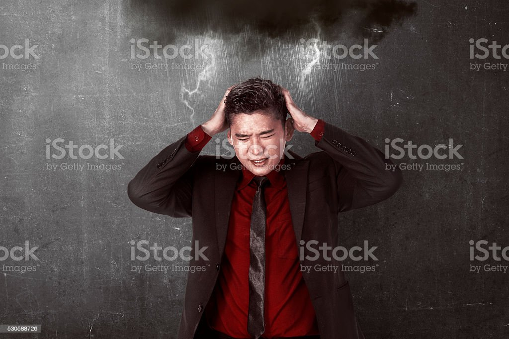 Asian business person get stress stock photo