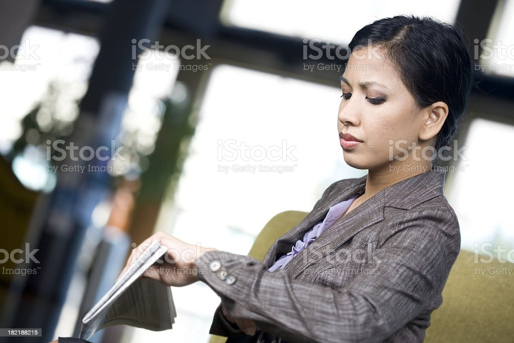 Asian Business Woman Checking the Time stock photo
