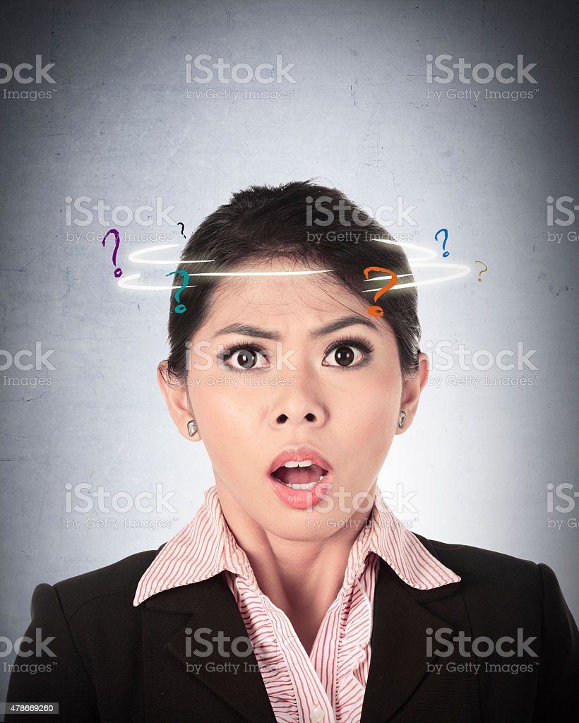 Asian Business Woman Confused stock photo